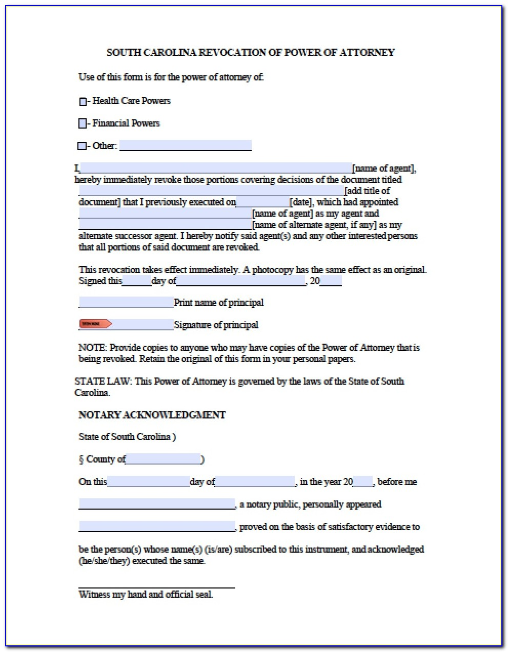 Durable Financial Power Of Attorney Form Sc