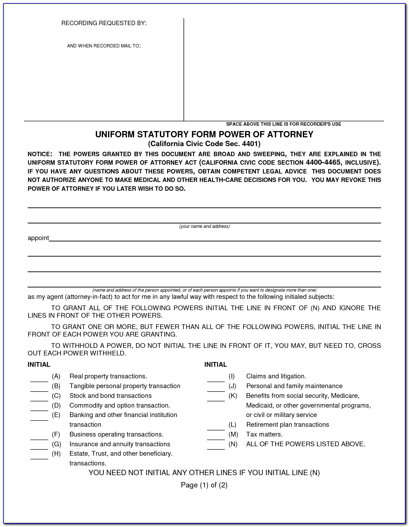 Durable Power Of Attorney For Health Care Form Ohio