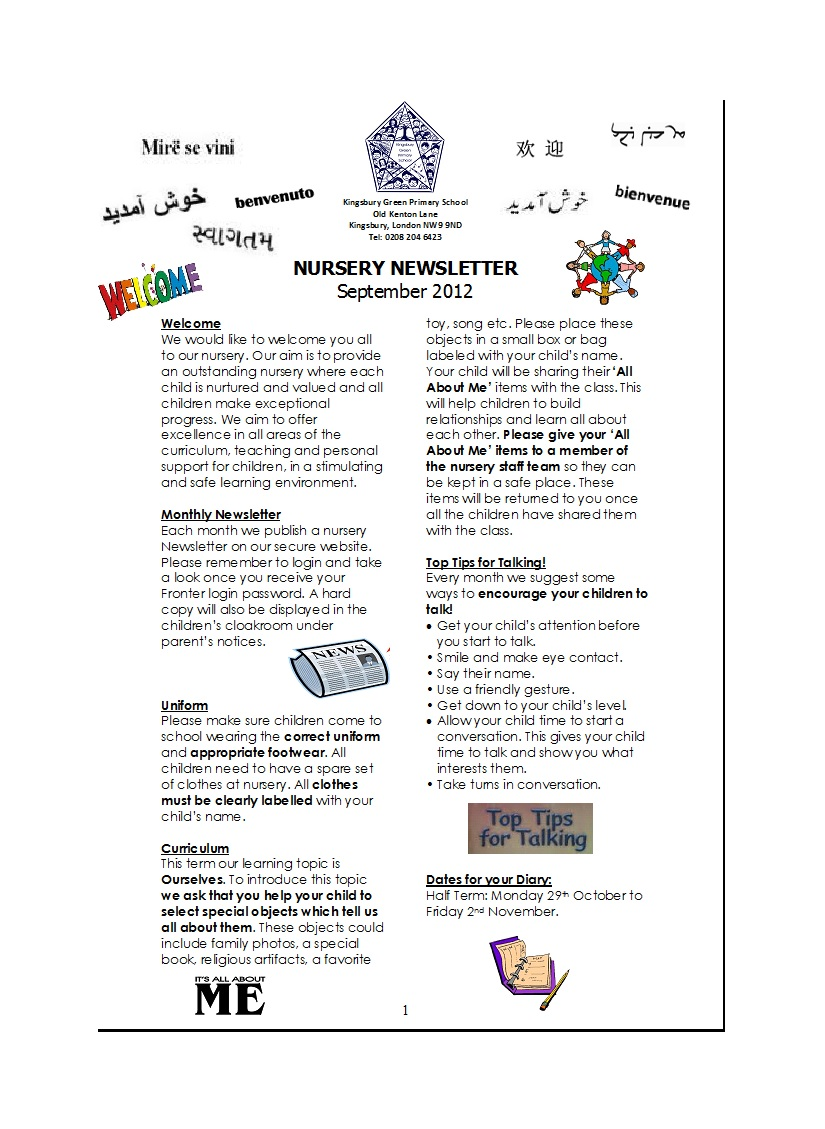 Early Childhood Education Newsletter Templates