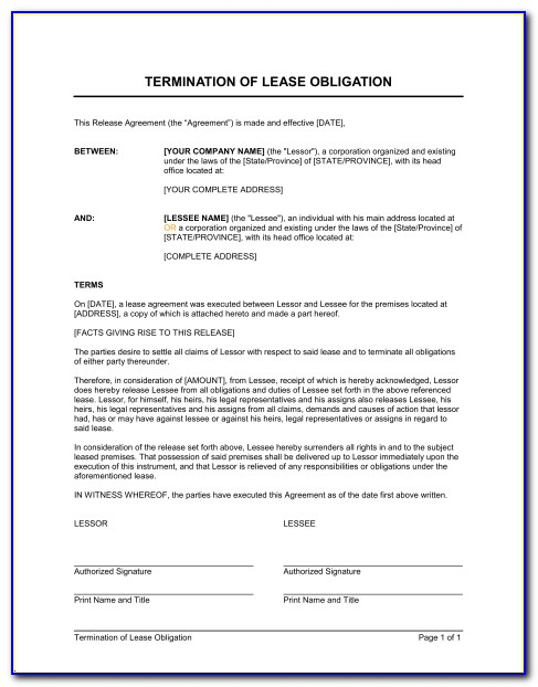 Early Termination Of Rental Lease Agreement Form