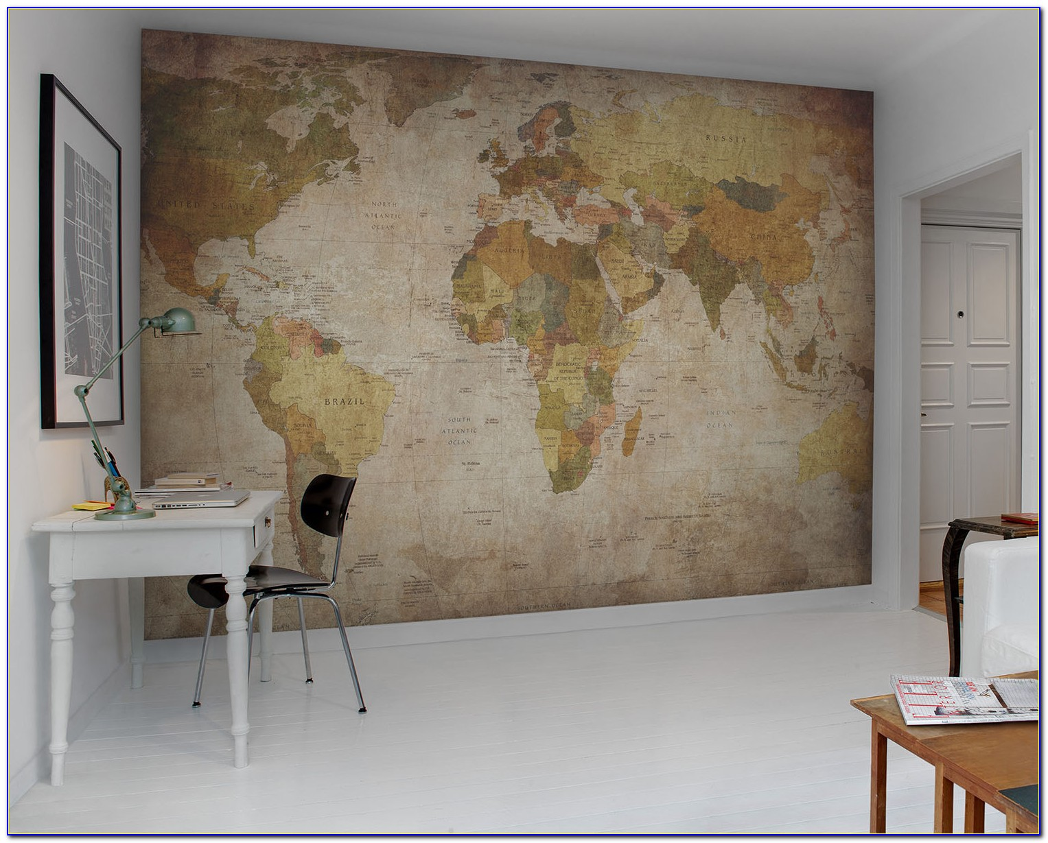 Earth Tone World Map Mural Wallpaper