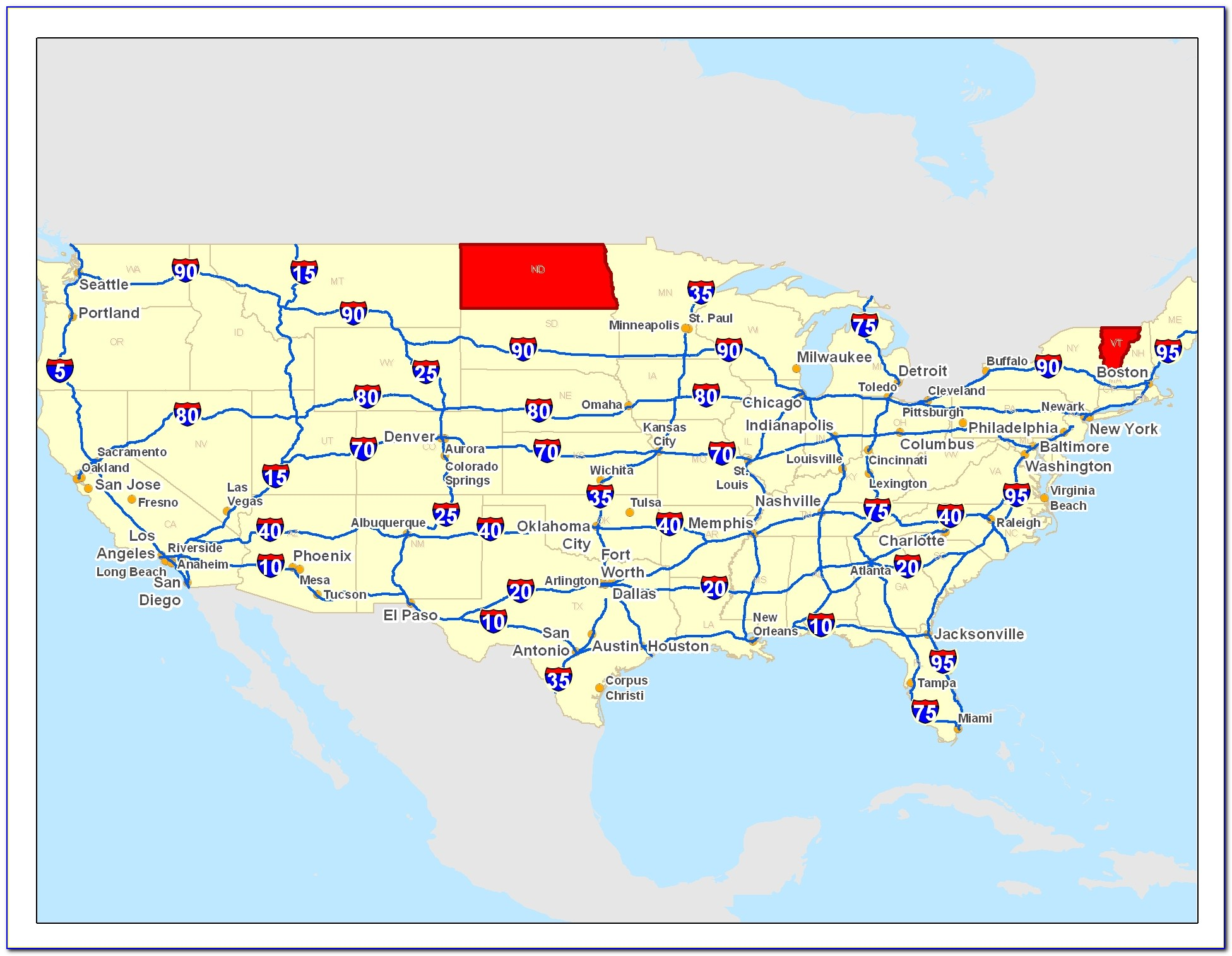 Eastern Us Map With Interstates