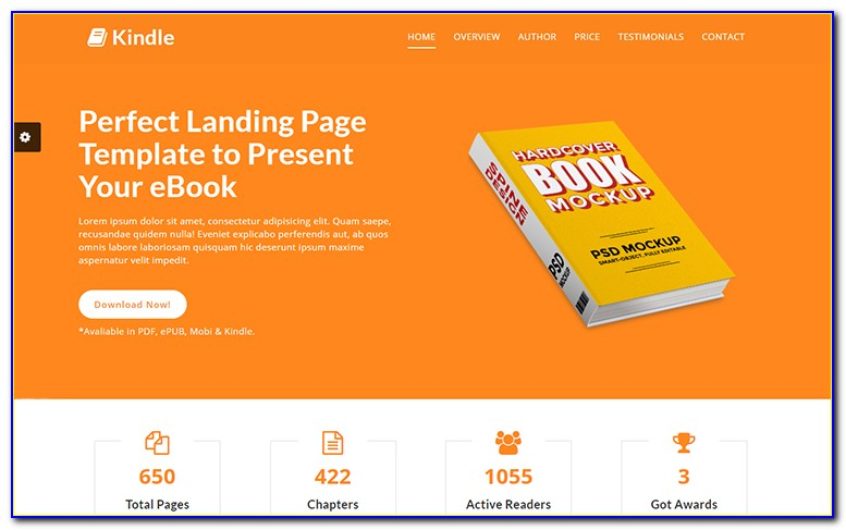 Ebook Landing Page WordPress Template