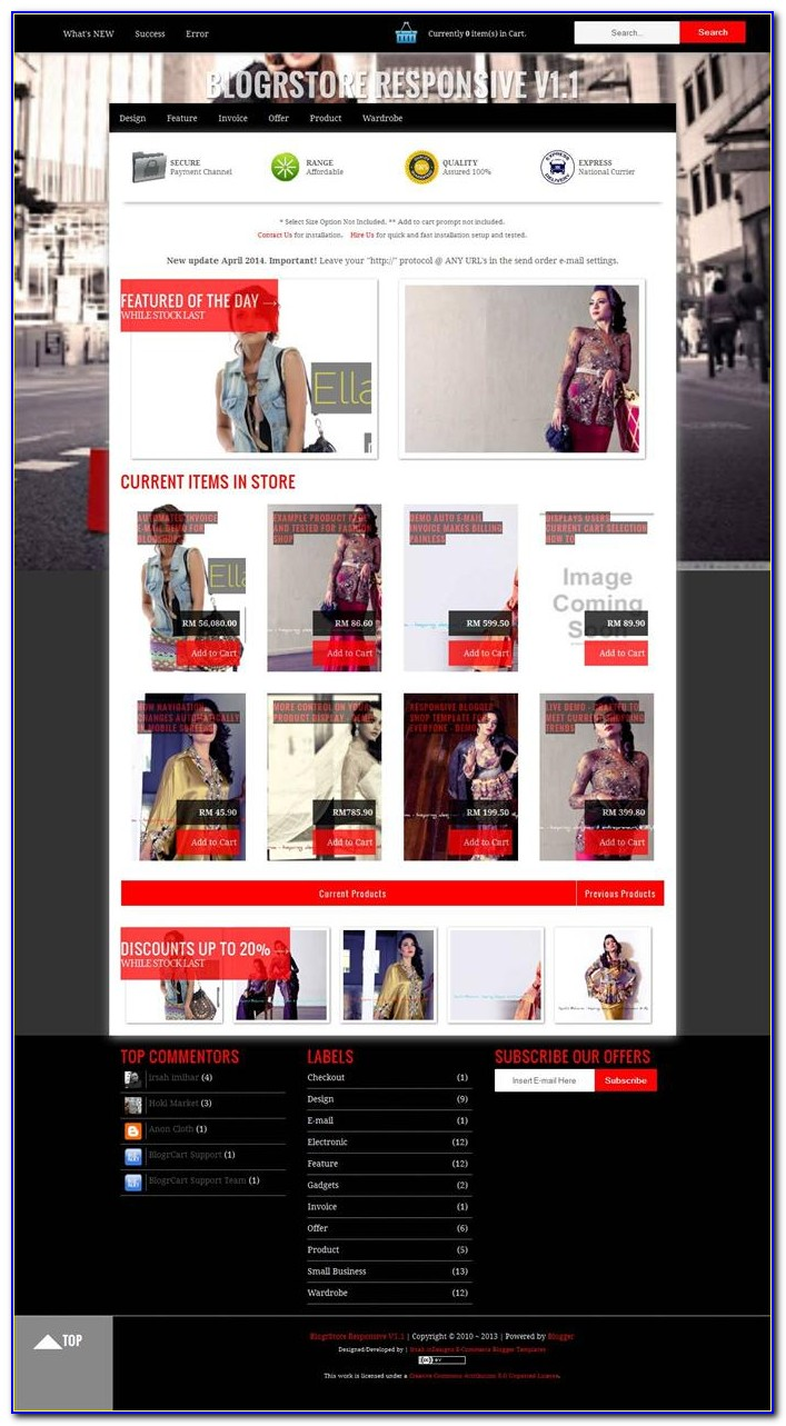 Ecommerce Blogger Template 2018