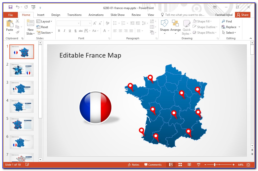 Editable Map Powerpoint Free
