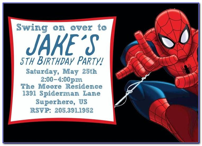 Editable Spiderman Birthday Invitations Templates Free