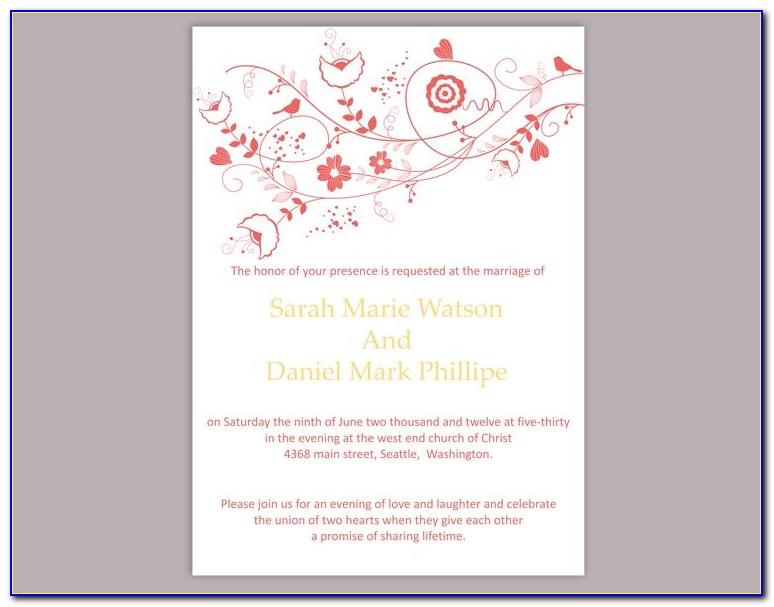 Editable Wedding Invitation Templates Free Download Pdf