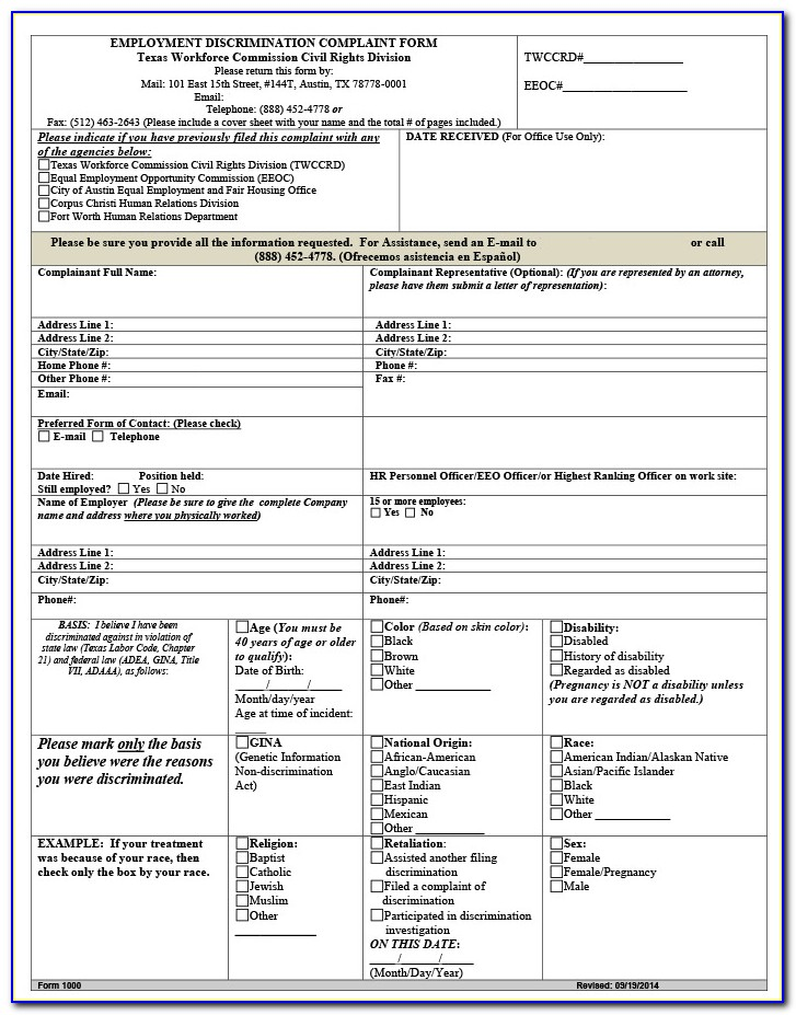 Eeoc Complaint Form California