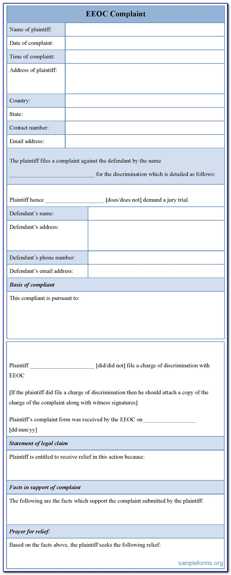 Eeoc Complaint Form Download