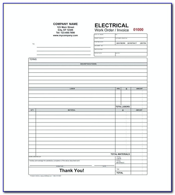 Electrical Contractor Invoice Template