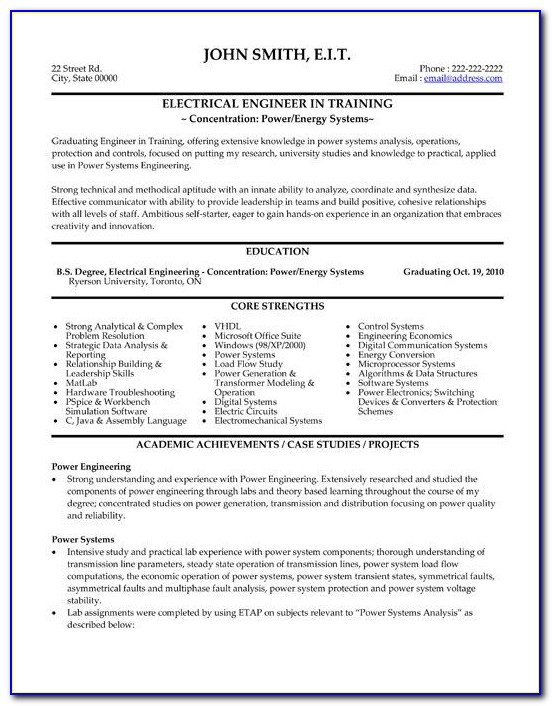 Electrical Engineer Resume Template Download