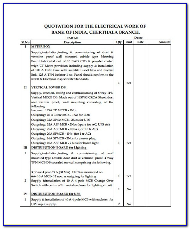Electrical Quote Template Pdf