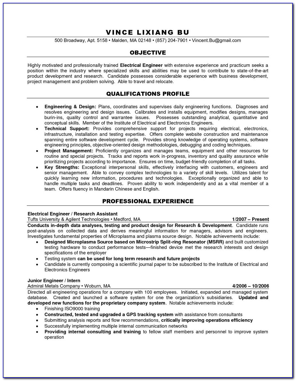 Electrician Resume Template Free