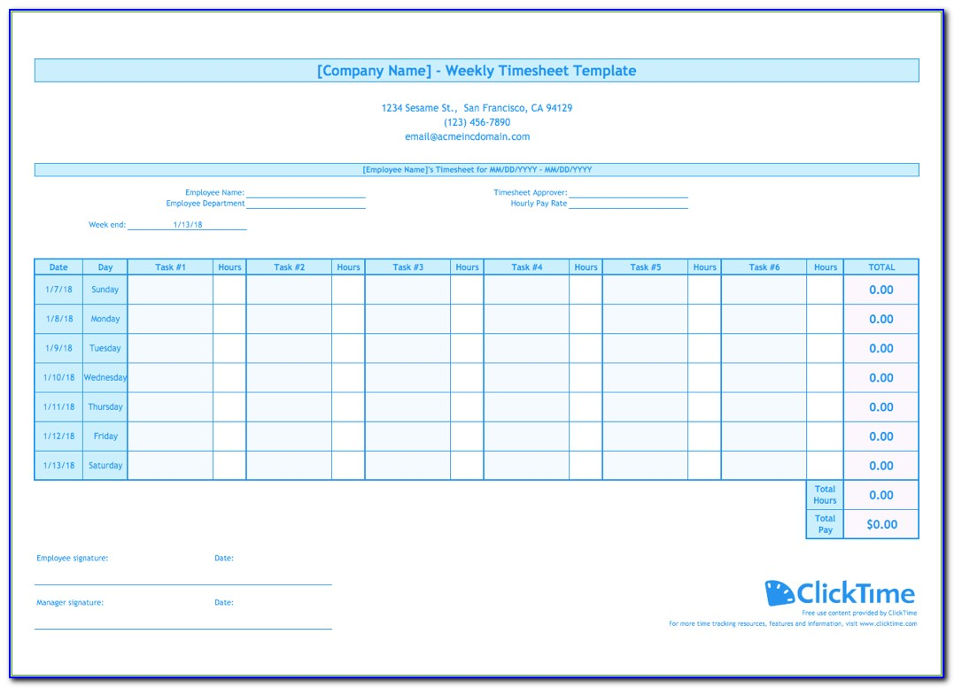 Weekly Timesheet Template Free Excel Timesheets Clicktime For Employee Hour Tracking Template Vincegray2014