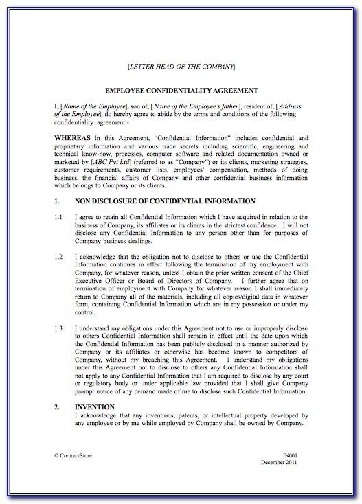 Employee Confidentiality Template