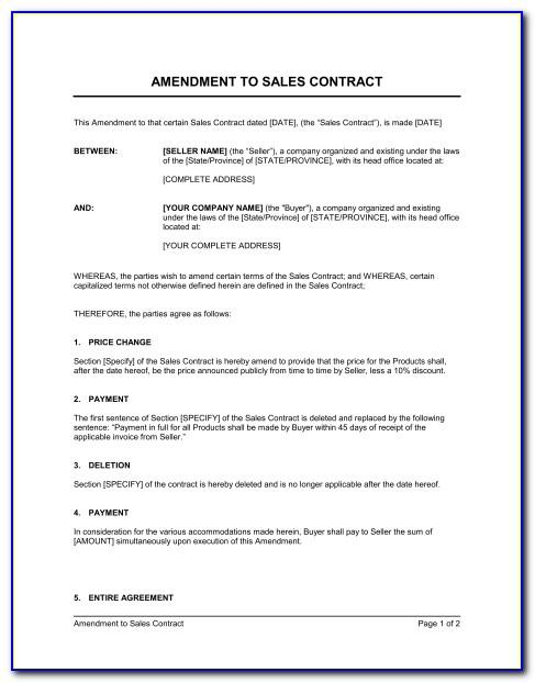 Employee Contract Amendment Template