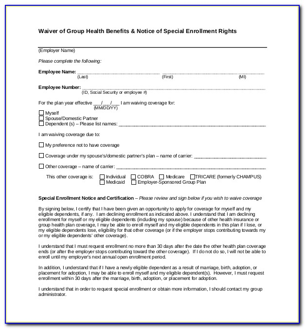 Employee Health Insurance Waiver Form Template