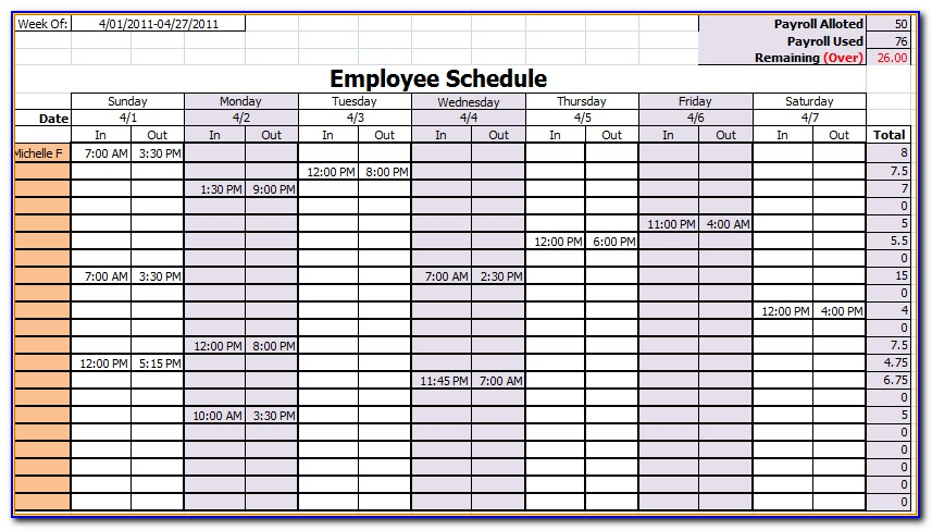 Employee Monthly Schedule Template Excel