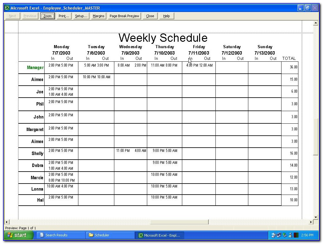 Employee Monthly Schedule Template Pdf