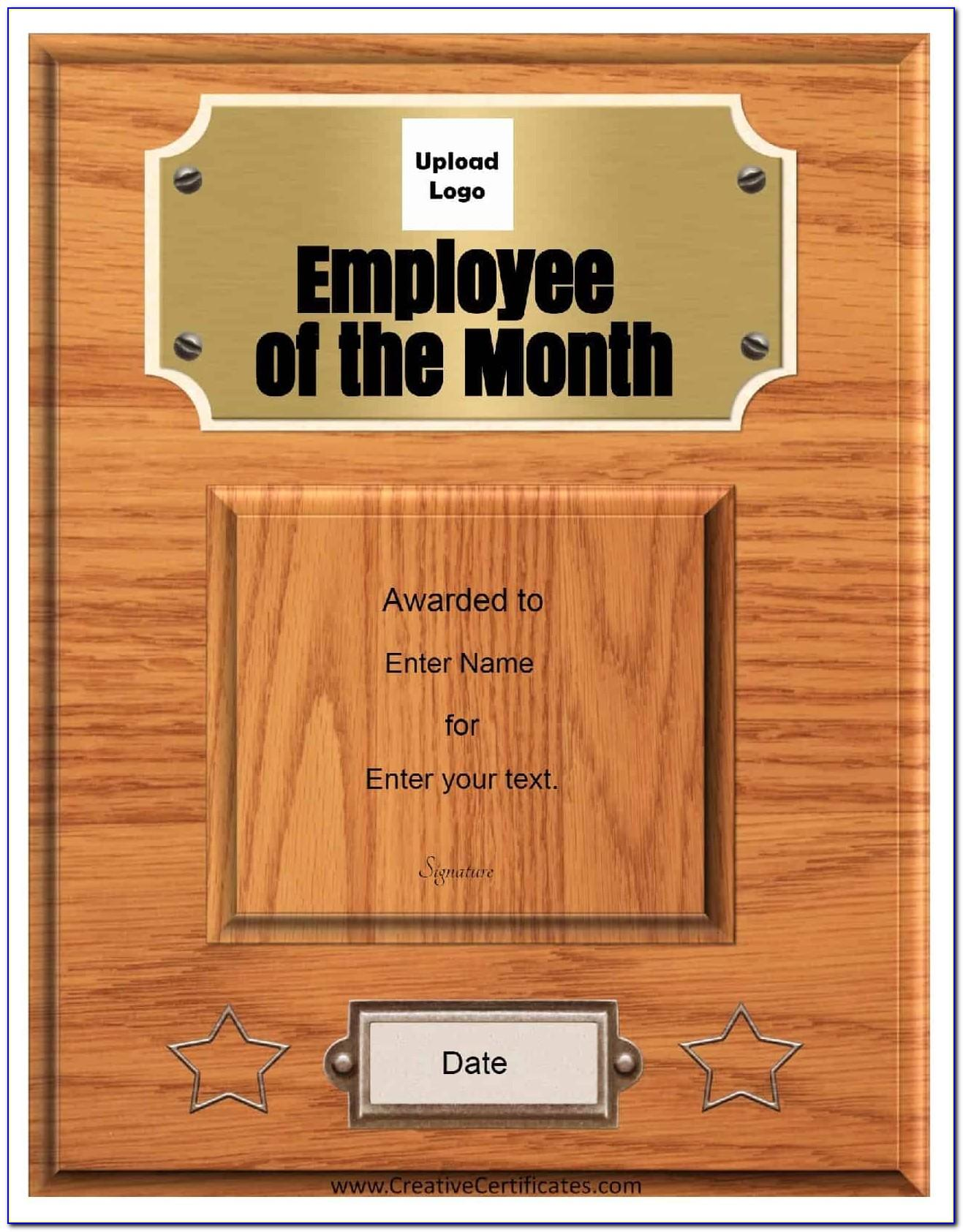 Employee Of The Week Certificate Template Free