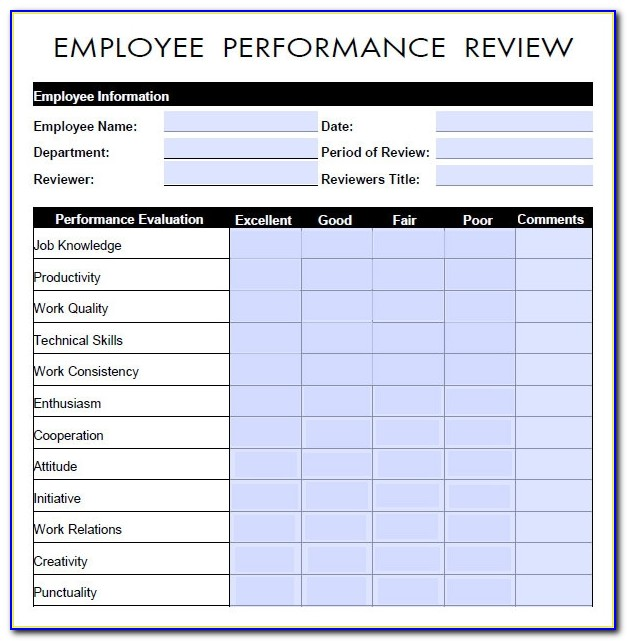 Employee Performance Appraisal Template Pdf