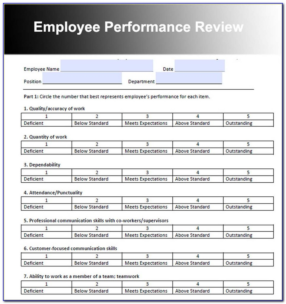 Employee Performance Log Template Excel