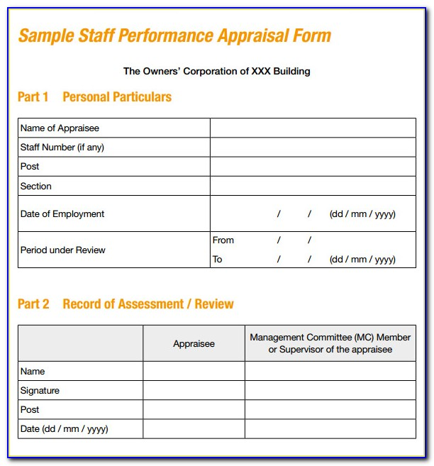 Employee Performance Self Appraisal Form Template