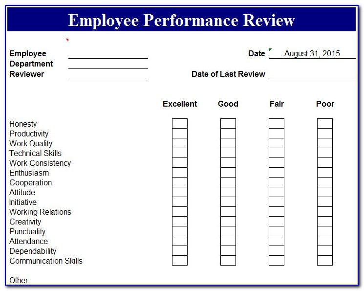 Employee Performance Template Excel