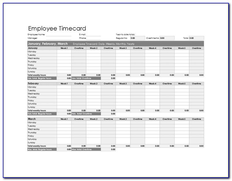 Employee Timesheet Template Excel Free
