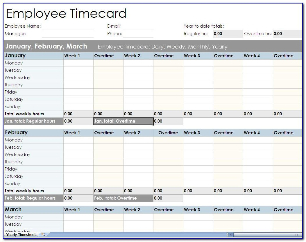 Employee Timesheet Template Excel