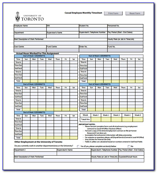 Employee Timesheet Template Word