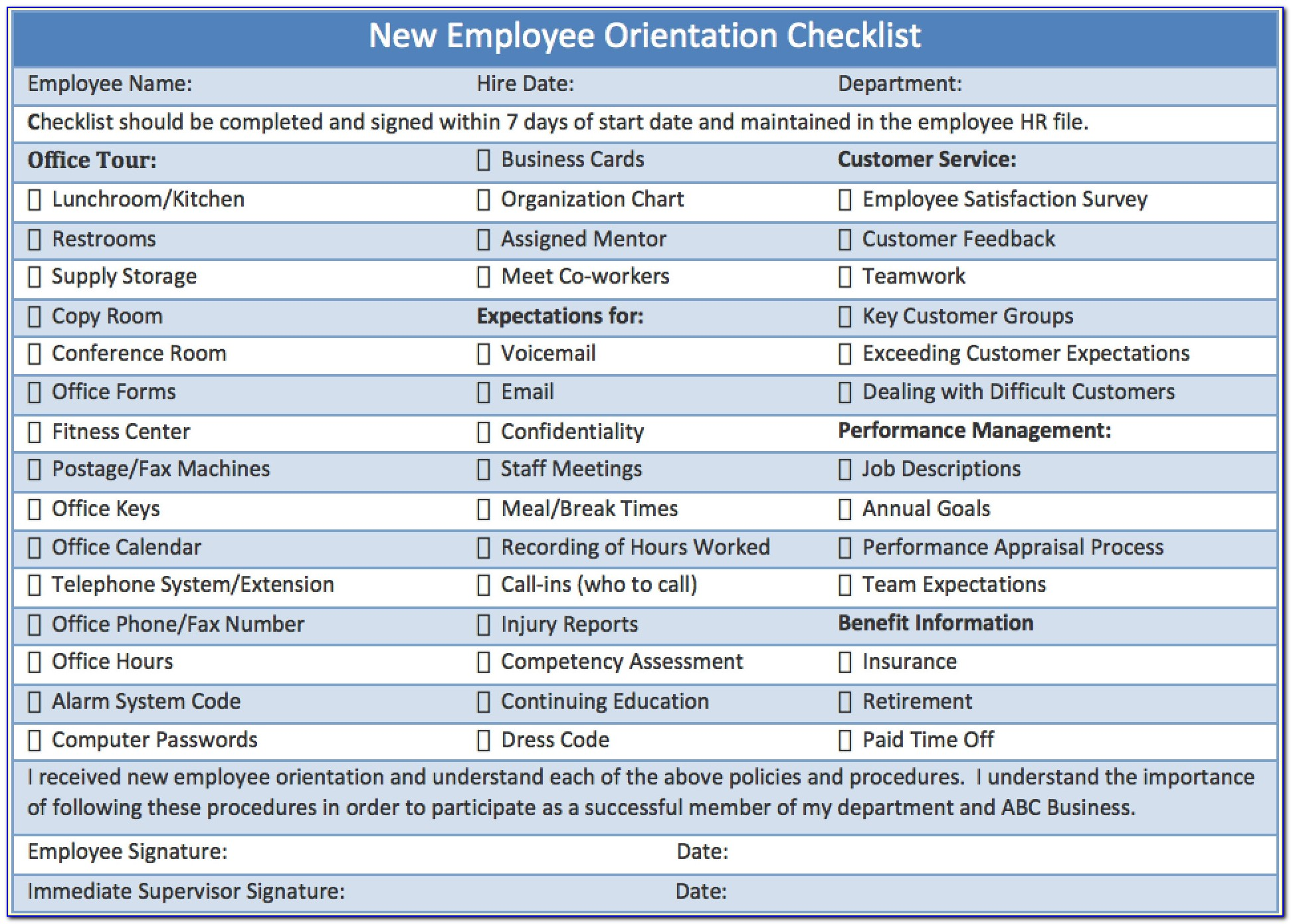 Employee Training Checklist Template Excel Free