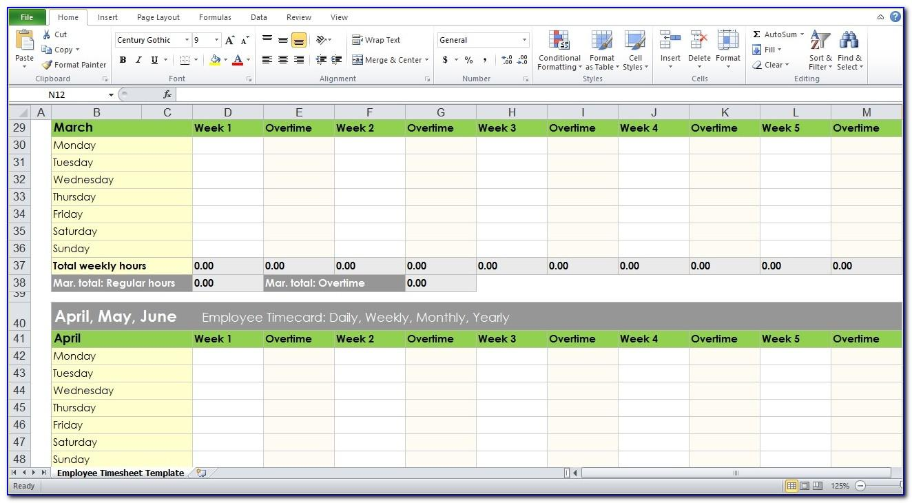 Employee Weekly Timesheet Template Excel