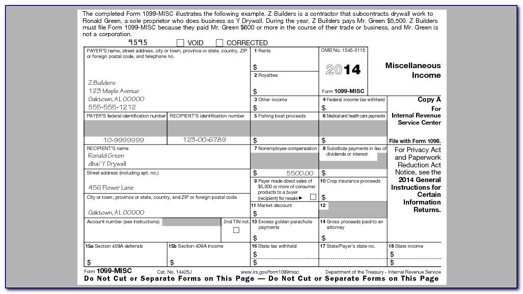 Employer Filing 1099 Misc Form