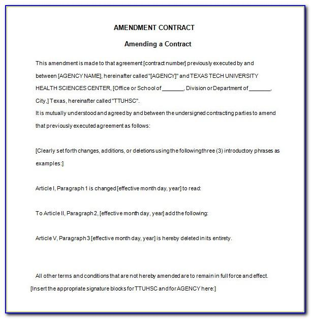 Employment Contract Amendment Template Uk