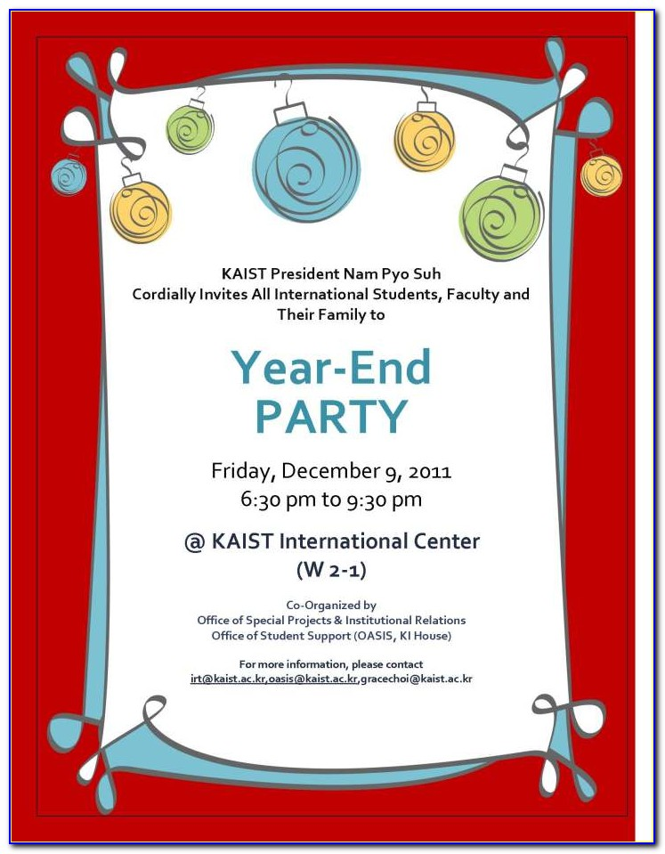 End Of Year Party Invitation Template