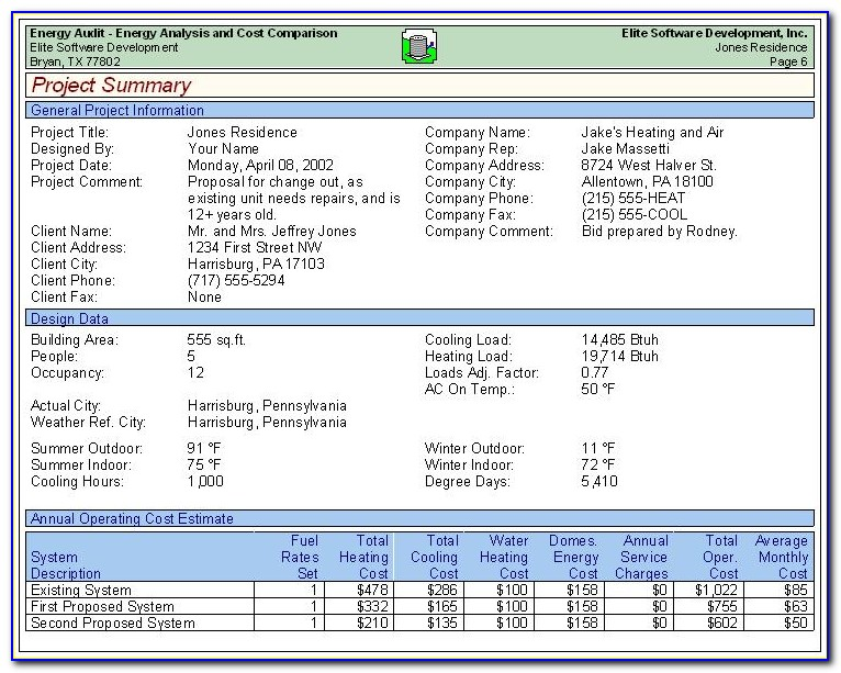 Energy Audit Report Samples