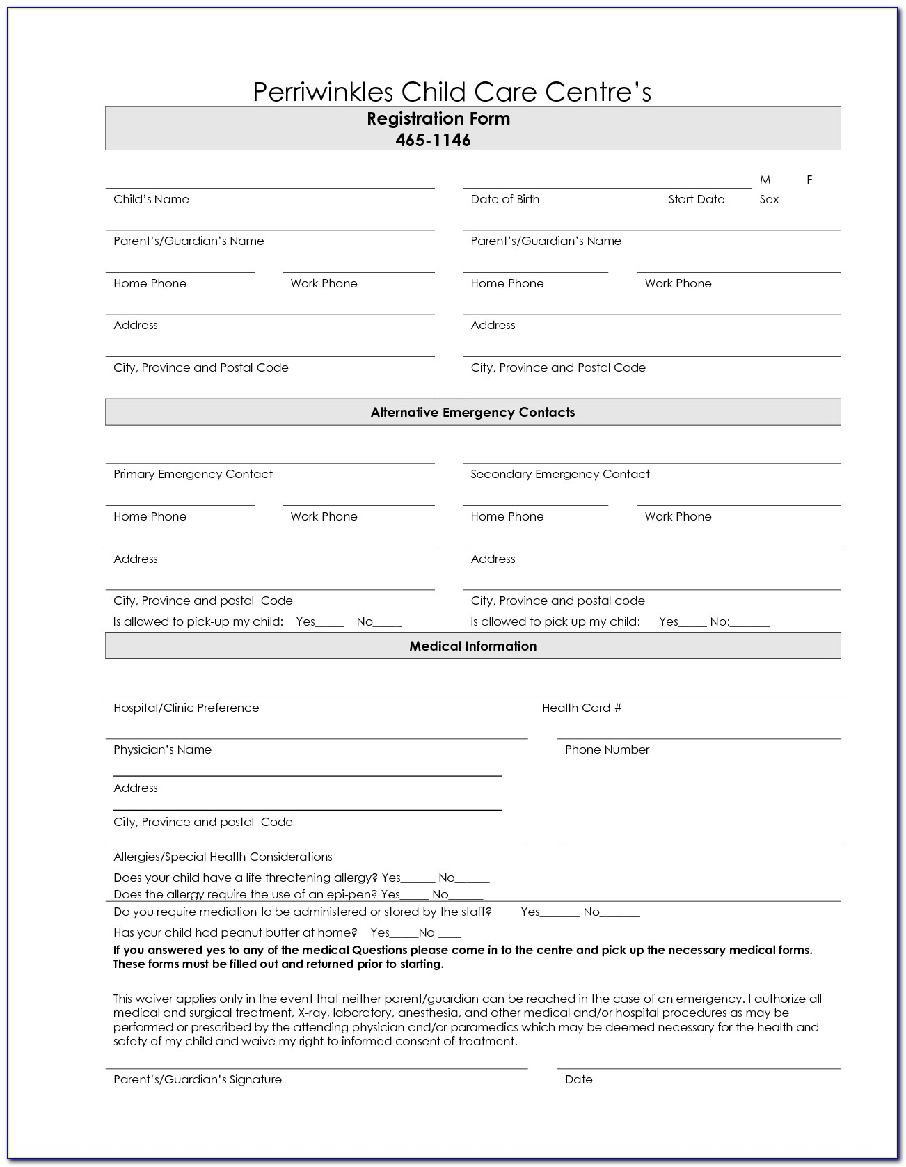Enrollment Forms For Home Daycare