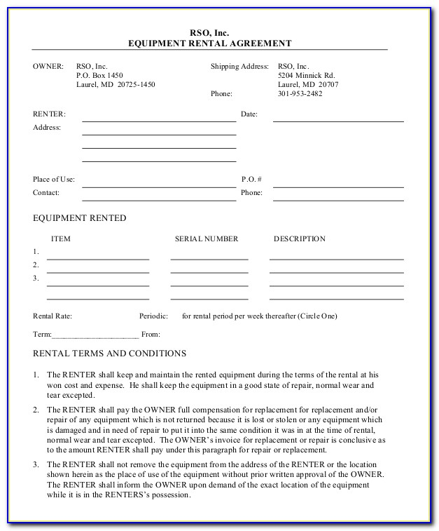 Equipment Lease Agreement Format India