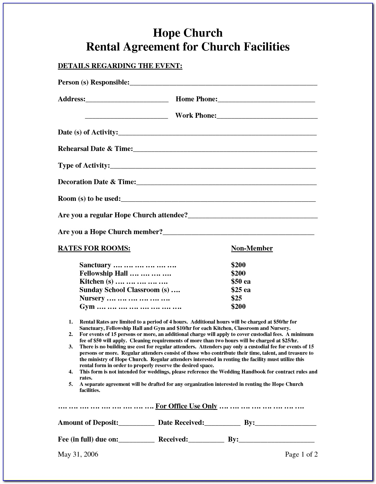 Event Hall Rental Agreement Template