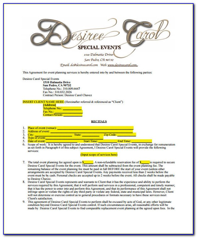 Event Planning Contract Template Pdf