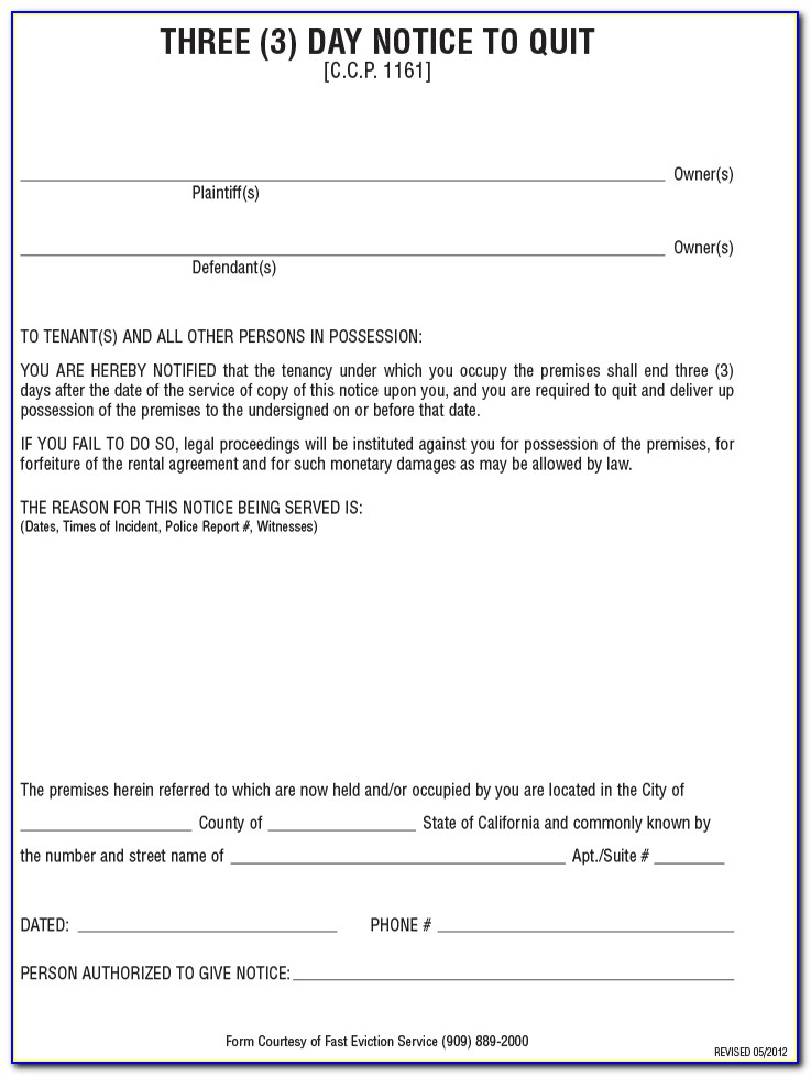 Eviction Notice Forms Miami Dade