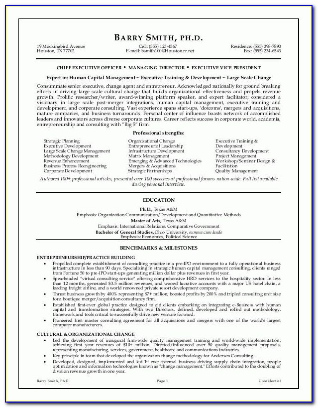 Example Executive Resume Format