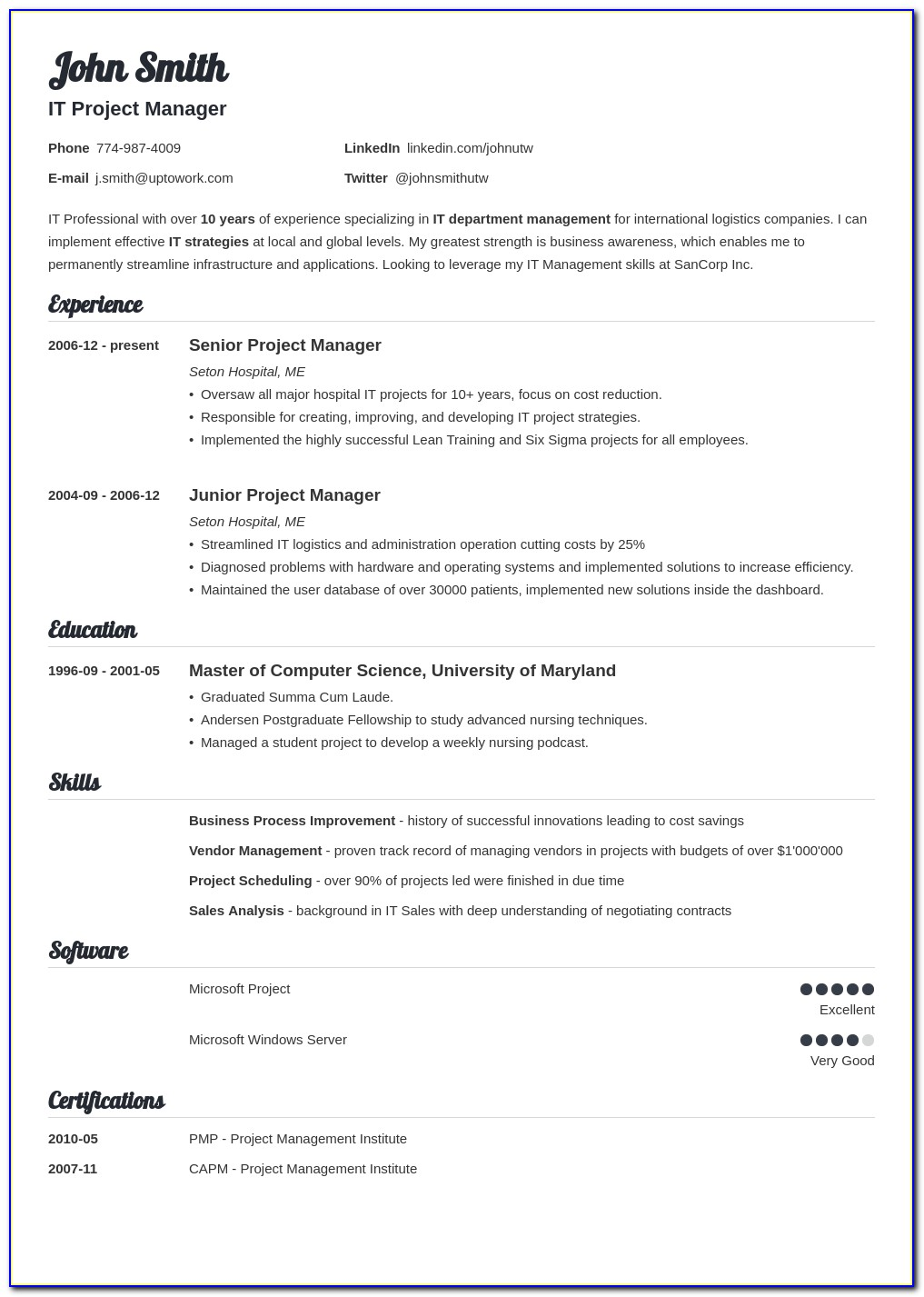 Example Of A Resume Outline