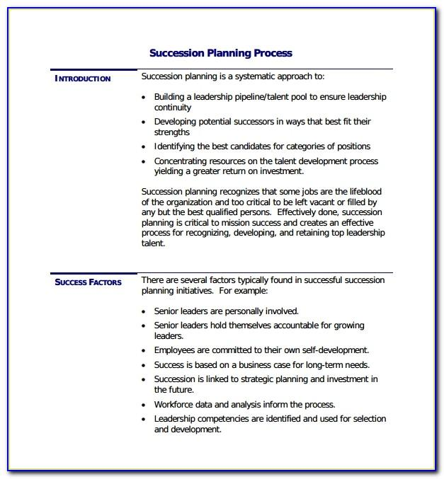 Example Of A Succession Plan Template