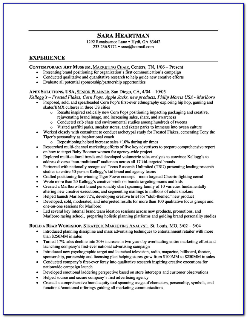 Example Of Digital Marketing Resumes