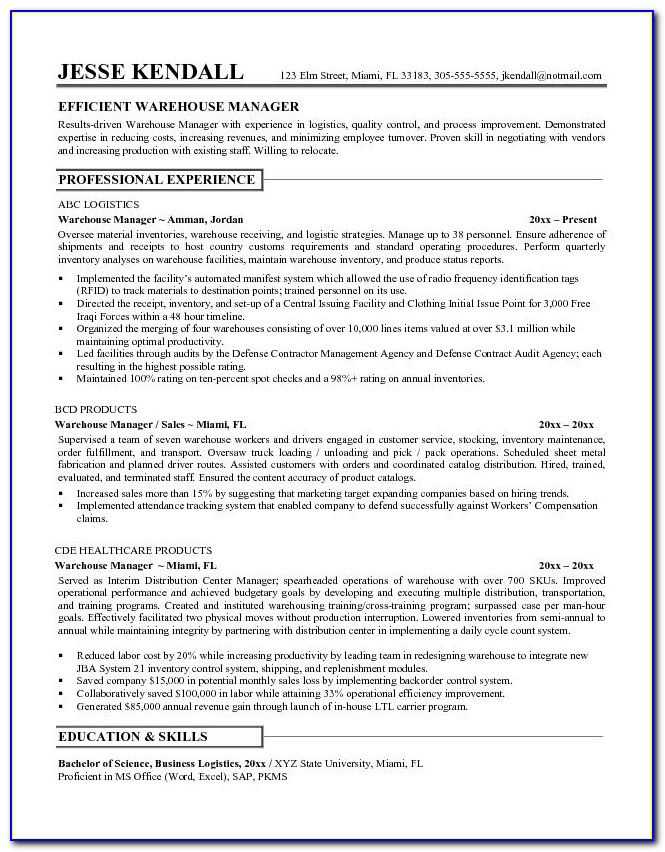 Example Of Resume Warehouse Worker