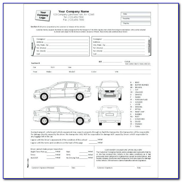 Example Of Vehicle Inspection Form