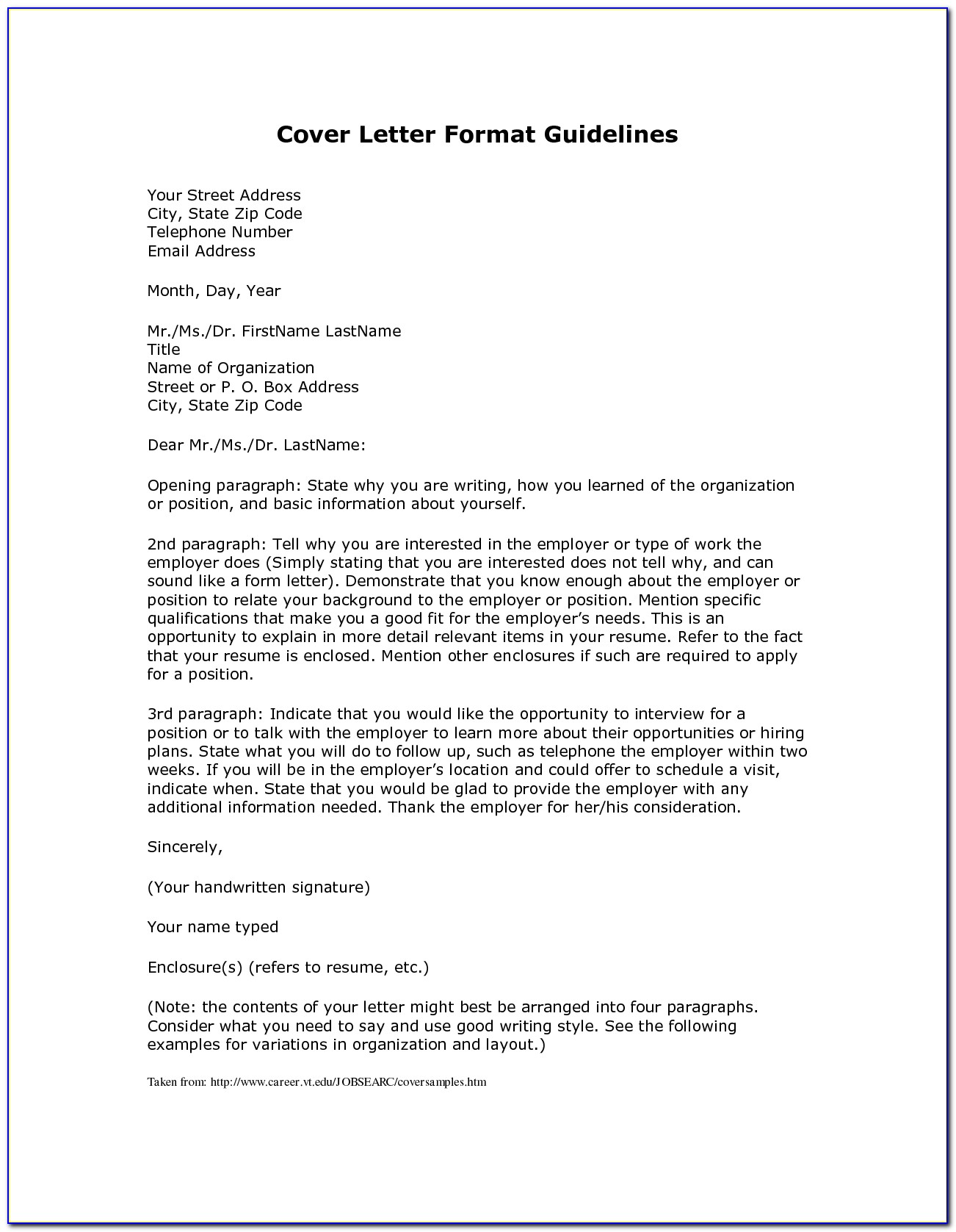 Examples For Resume Cover Letter