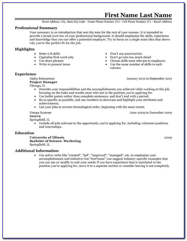 Examples Of Best Resume Format